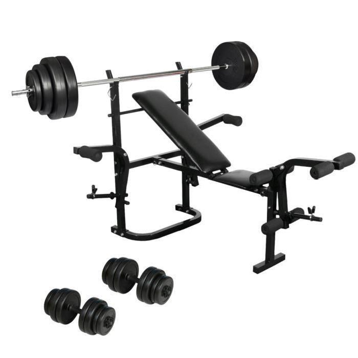 Banc de musculation avec barre et poids muscu maison - Banc de musculation complet pas cher ...