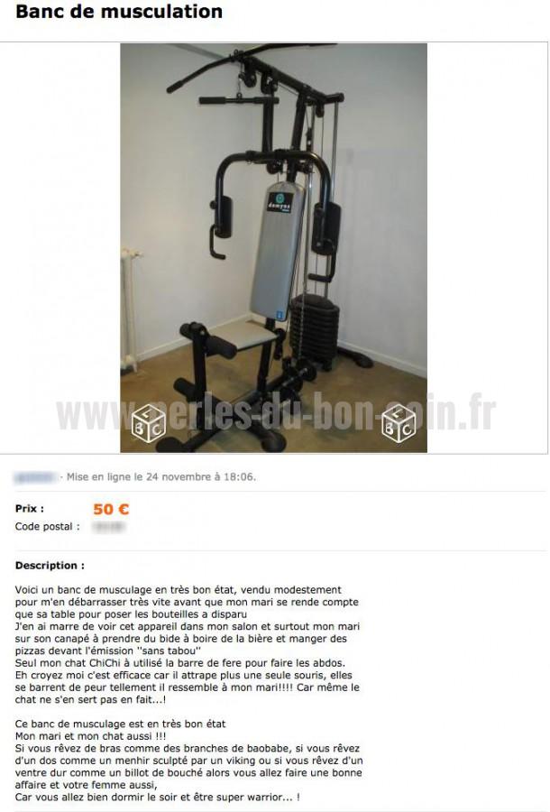 le bon coin banc de musculation muscu maison. Black Bedroom Furniture Sets. Home Design Ideas