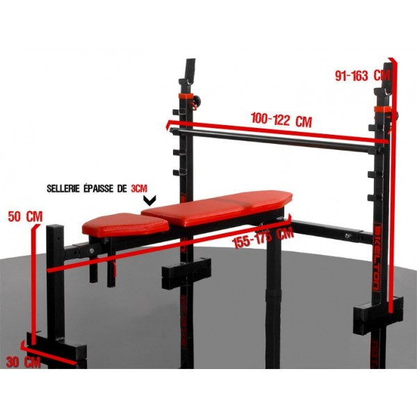 Dimension banc de musculation muscu maison - Banc de developpe couche professionnel ...